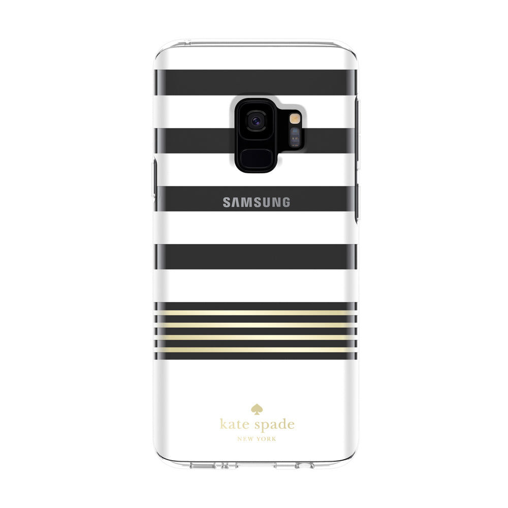 kate spade new york protective hardshell case for galaxy s9 -clear/gold foil/stripe 2 Australia Stock