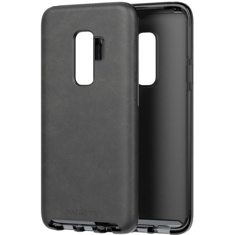 evo luxe vegan leather flexshock case for galaxy s9 plus black colour