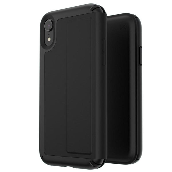leather case for iphone xr black colour from speck with card slot and kickstand.