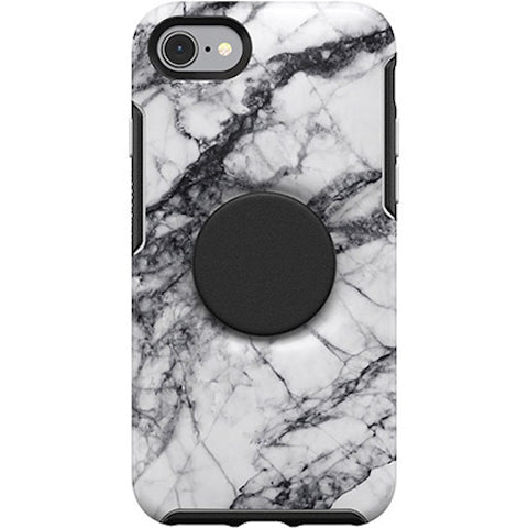 designer case with pop socket for iphone se 2020 marble pattern