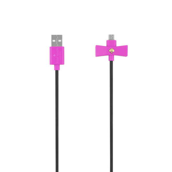 Kate Spade New York Bow Charge / Sync Micro USB Cable 1 meter - Vivid Snapdragon Bow/Black Cable