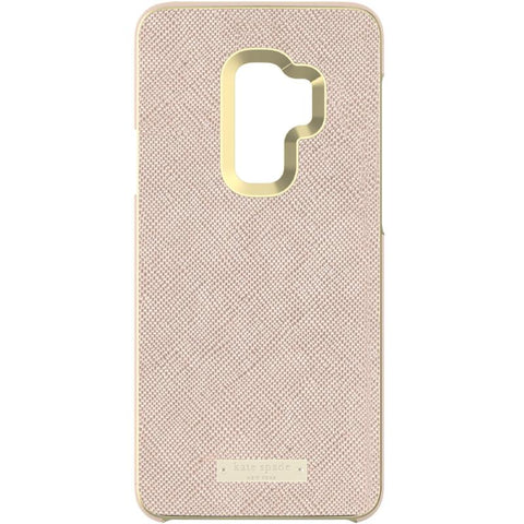 KATE SPADE NEW YORK WRAP INLAY CASE FOR GALAXY S9 - SAFFIANO ROSE GOLD/GOLD LOGO PLATE