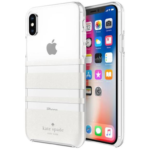 pretty nice c8769 3bc41 KATE SPADE NEW YORK PROTECTIVE HARDSHELL CASE FOR IPHONE XS/X - CHARLOTTE  STRIPE WHITE GLITTER/CLEAR