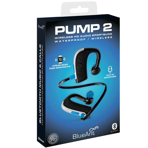BLUEANT PUMP 2 WIRELESS HD AUDIO SPORTBUDS EARPHONES WITH MICROPHONE - BLACK