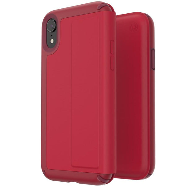 leather case for iphone xr from speck australia. folio red colour with card slot.