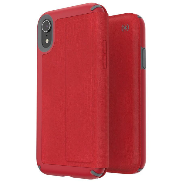 red flip folio style case for new iphone xr from Speck australia, presidio card series
