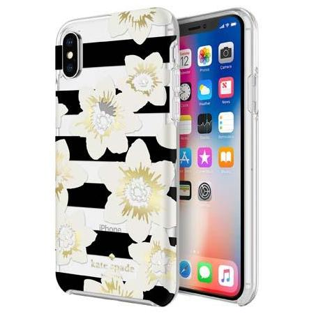 iPhone Xs & iPhone X kate spade ny case flower strype black & white pattern designer case