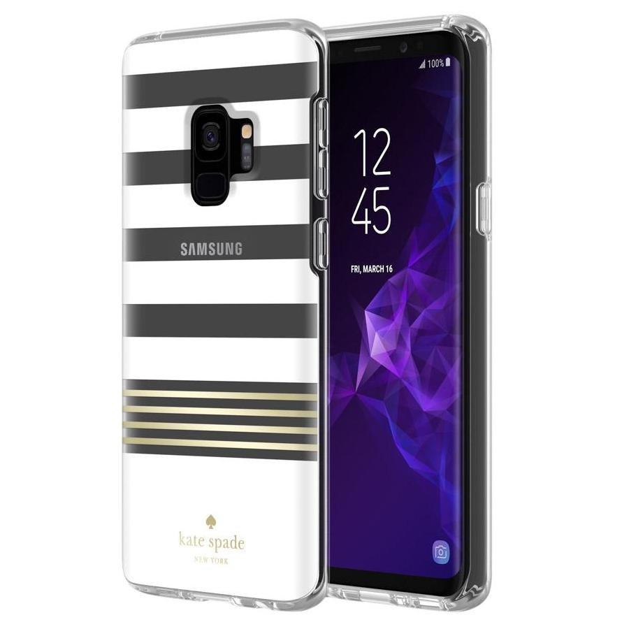 promo code 8f7ee e8b52 KATE SPADE NEW YORK PROTECTIVE HARDSHELL CASE FOR GALAXY S9 -CLEAR/GOLD  FOIL/STRIPE 2 WHITE