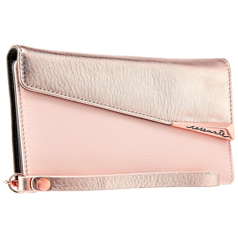 CASEMATE WRISTLET FOLIO PEBBLED LEATHER CASE FOR iPHONE 8 PLUS/7 PLUS - ROSE GOLD Australia Stock