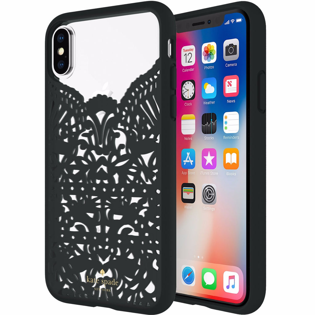 Place to buy high fashion cases from auhtorized distributor KATE SPADE NEW YORK LACE CAGE CASE FOR IPHONE X - HUMMINGBIRD BLACK AND CLEAR. Free shipping Australia wide. Australia Stock