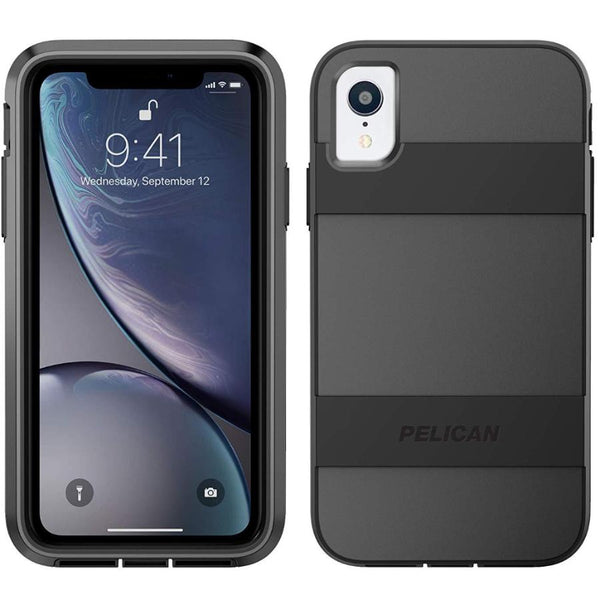 iphone xr case with screen protector from pelican colour black with military drop tested. buy at syntricate authentic accessories with afterpay & free express shipping.
