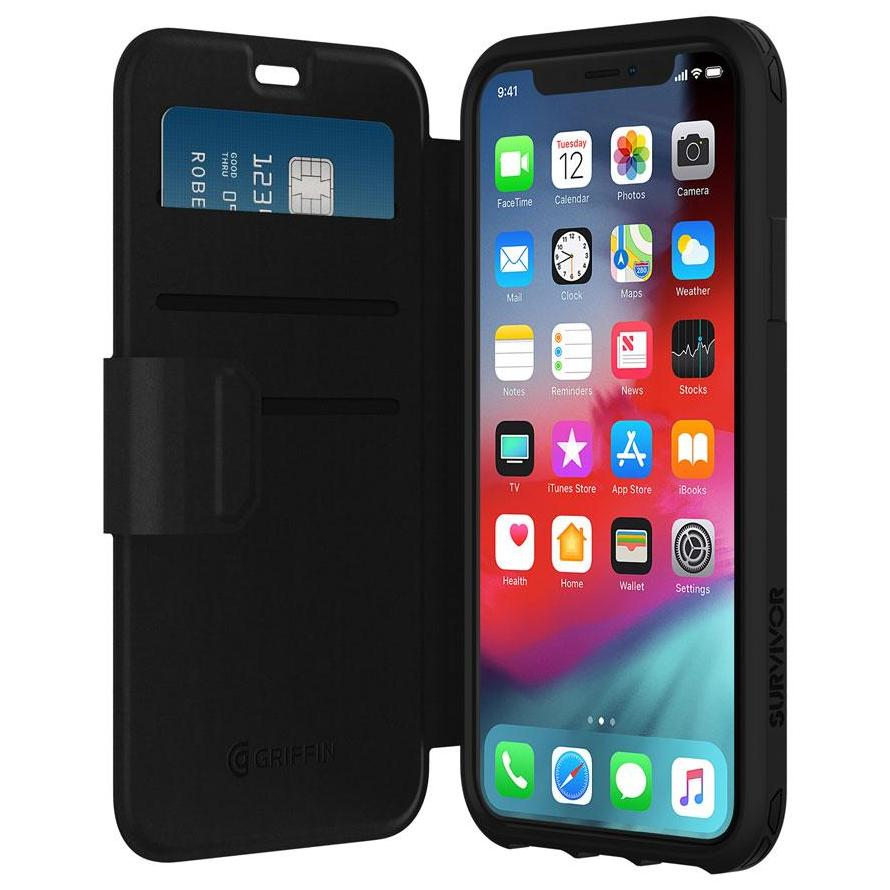 folio style case for iPhone XS max Black from Griffin Australia Stock