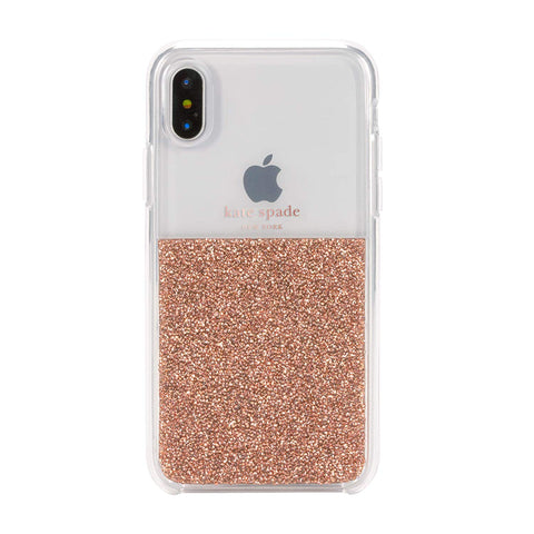 KATE SPADE NEW YORK HALF CLEAR CRYSTAL CASE FOR IPHONE XS MAX - ROSE GOLD
