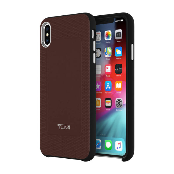 Brown iPhone XS Max TUMI Australia case with free shipping. Premium leather case