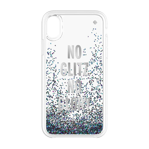 KATE SPADE NEW YORK LIQUID GLITTER CASE FOR IPHONE XR- NO GLITZ NO GLORY SILVER FOIL/MERMAID GLITTER