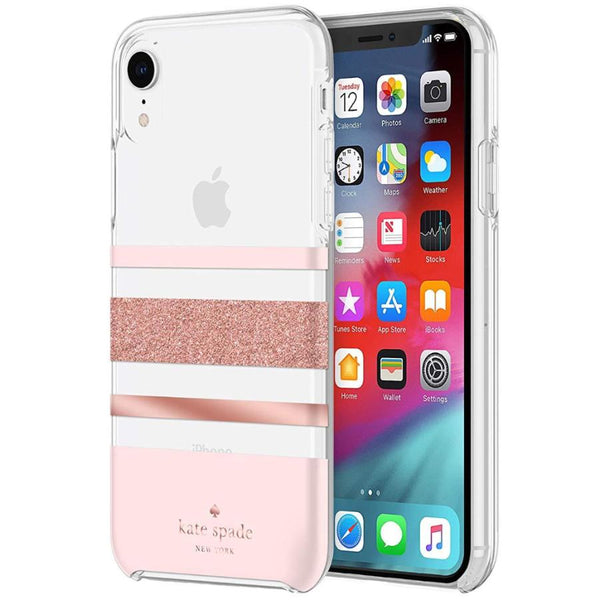hardshell case for iphone xr for women. stripe pattern rose gold pink colour.