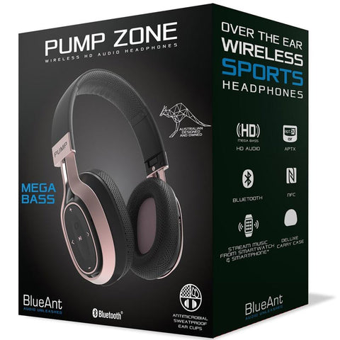 BLUEANT PUMP ZONE OVER EAR WIRELESS HD AUDIO HEADPHONES - BLACK ROSE GOLD