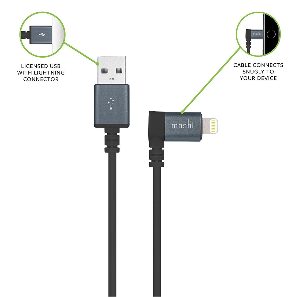 MOSHI LIGHTNING TO USB CABLE WITH 90-DEGREE CONNECTOR - BLACK Australia Stock