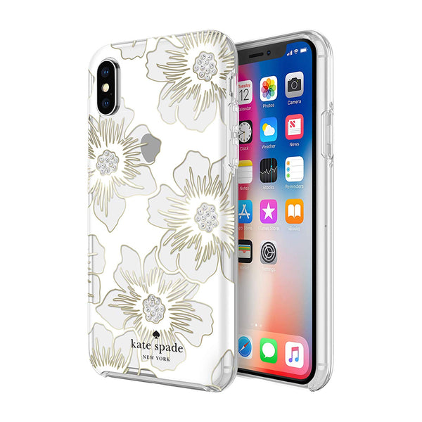 KATE SPADE NEW YORK PROTECTIVE HARDSHELL CASE FOR IPHONE XS/X - FLORAL PRINT/CLEAR/STONES