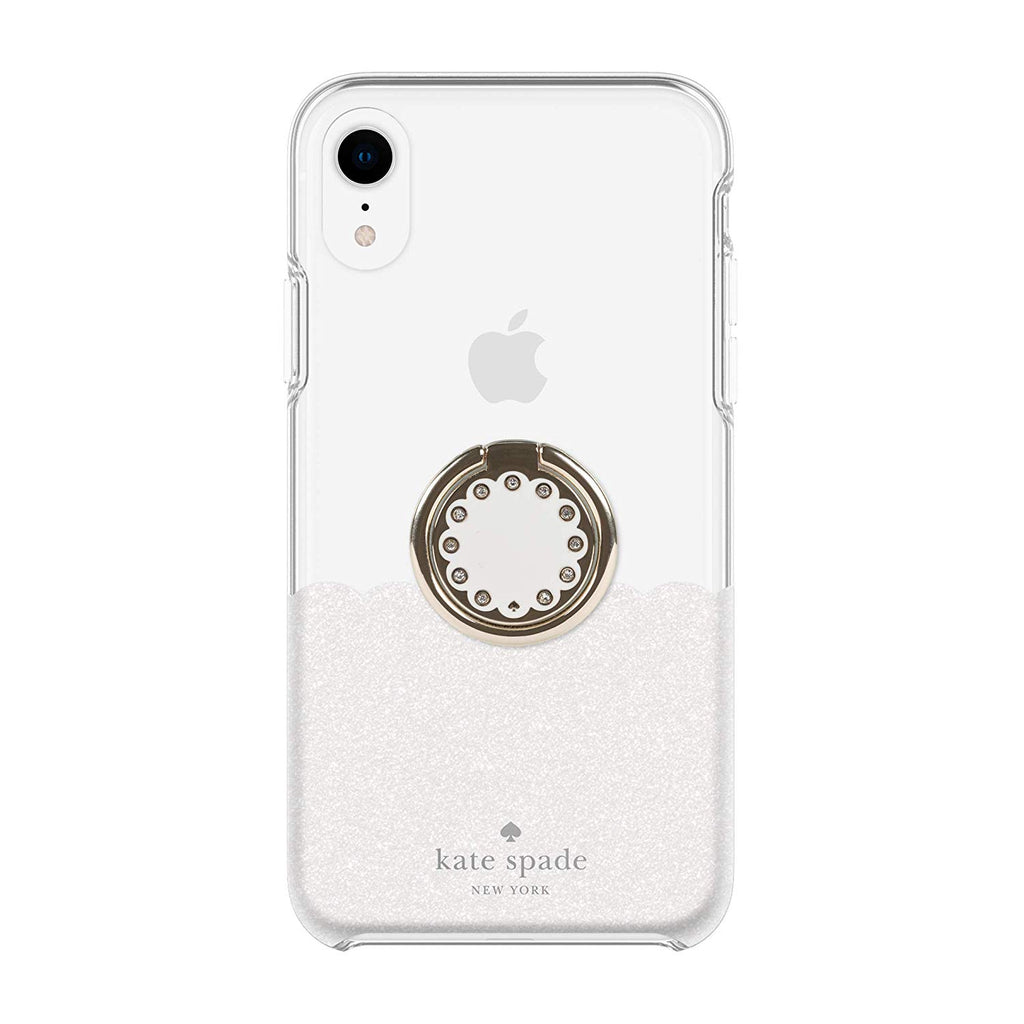 hot sale online da8d3 4e748 KATE SPADE NEW YORK GIFT SET PROTECTIVE CASE & RING STAND FOR IPHONE XR -  SCALLOP WHITE GLITTER/CLEAR