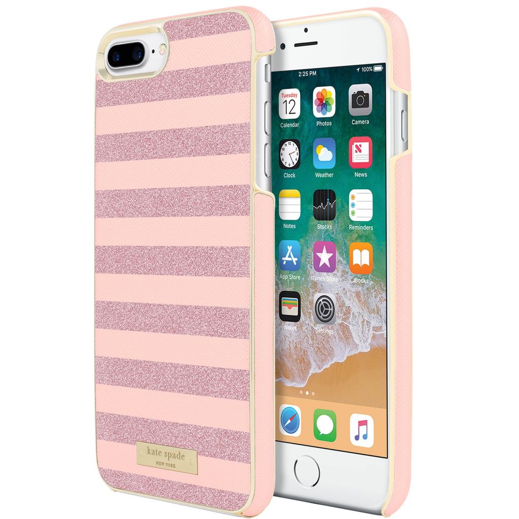 trusted store to buy online Kate Spade New York Wrap Glitter Stripe Case For Iphone 8 Plus/7Plus- Rose Quartz Saffiano/Rose Gold free shipping australia wide Australia Stock