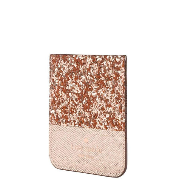 KATE SPADE NEW YORK STICKER POCKET FOR CASES - ROSE GOLD GLITTER SAFFIANO