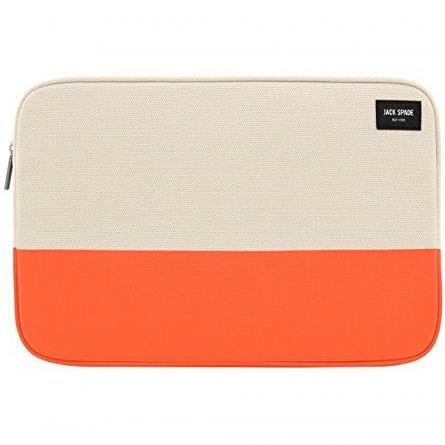 official store place to buy edgy and eye catching jack spade new york colorblock dipped canvas sleeve for macbook 13 inch - natural canvas/orange. free express shipping australia wide.