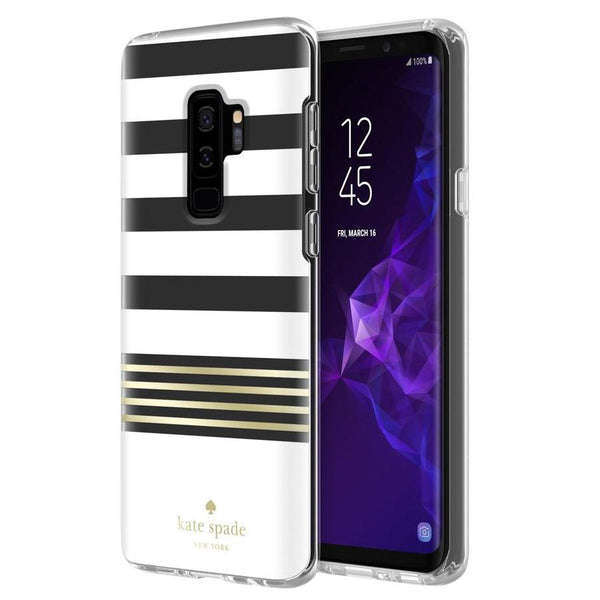 kate spade new york protective hardshell case for galaxy s9 plus - clear/gold foil/stripe 2 white
