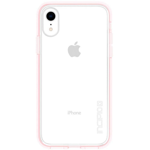 Back view of iPhone XR clear transparent pink case from Incipio