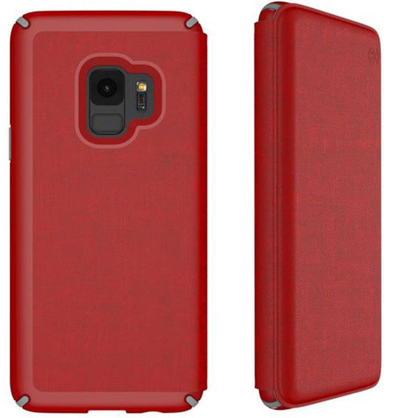 Speck Presidio Impactium Folio Case For Galaxy S9 - Heathered Red/grey