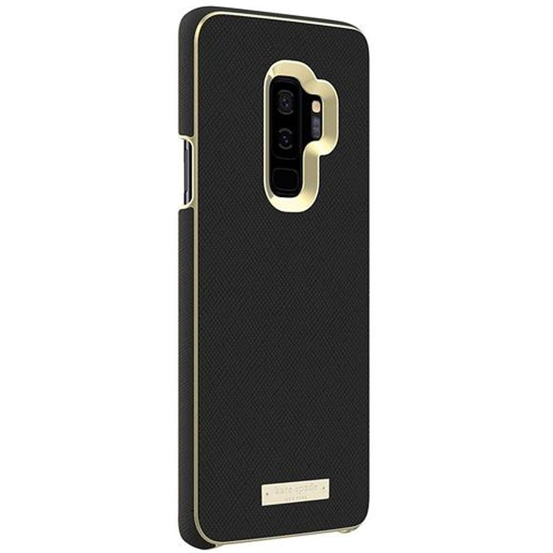 kate spade new york wrap inlay case for galaxy s9 plus saffiano black/gold logo plate Australia Stock