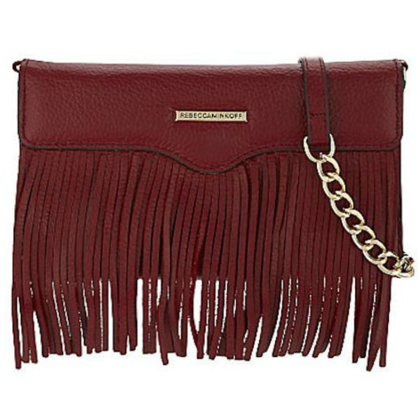 Rebecca Minkoff Universal Fringe Tech Leather Crossbody - Deep Red