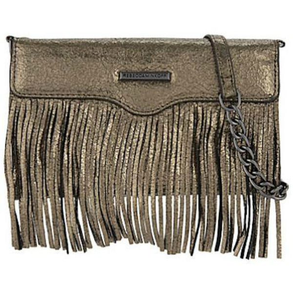 Rebecca Minkoff Universal Fringe Tech Leather Crossbody - Cracked Anthracite