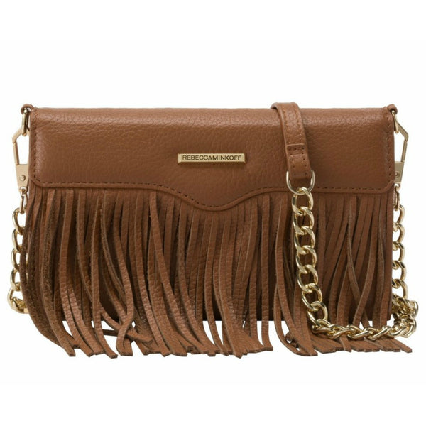 Rebecca Minkoff Universal Fringe Tech Leather Crossbody - Almond Pebble