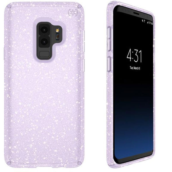 Speck Presidio Clear + Glitter Impactium Case For Galaxy S9+ Plus Purple/gold