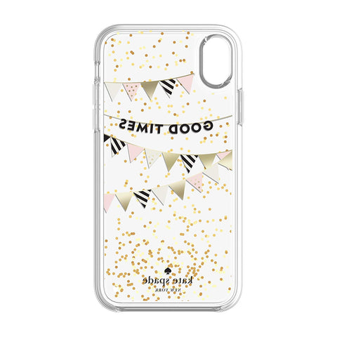 KATE SPADE NEW YORK LIQUID GLITTER CASE FOR IPHONE XR- GOOD TIMES GOLD FOIL/GLITTER/CLEAR