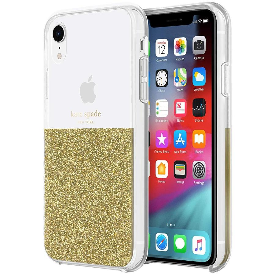 KATE SPADE NEW YORK HALF CLEAR CRYSTAL CASE FOR IPHONE XR - GOLD Australia Stock