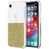 KATE SPADE NEW YORK HALF CLEAR CRYSTAL CASE FOR IPHONE XR - GOLD