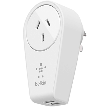 buy Belkin BOOST UP 2-Port USB Swivel Charger + AC Outlet (12 W/2.4 amps) free shipping australia wide