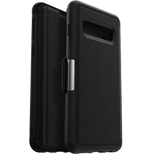 buy online leather folio black case for new samsung galaxy s10 with afterpay payment Australia Stock