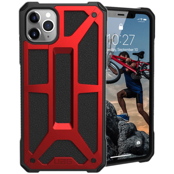 iphone 11 pro max rugged case red colour. uag monarch case