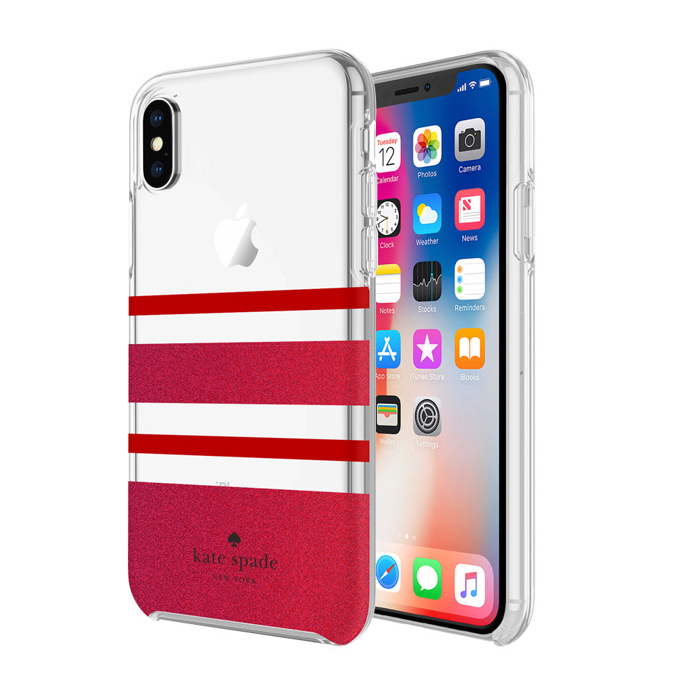 KATE SPADE NEW YORK PROTECTIVE HARDSHELL CASE FOR IPHONE X - CHARLOTTE STRIPE RED/GLITTER RED Australia Stock