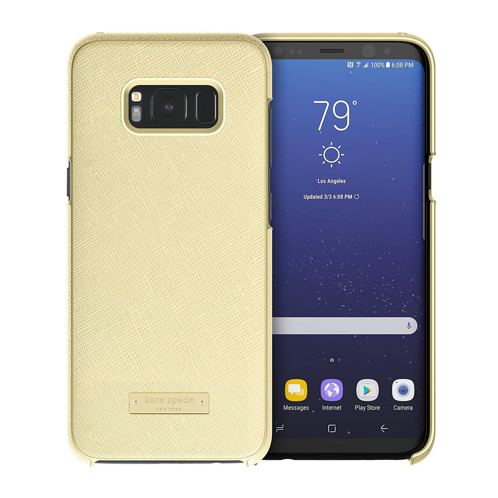 new product 03e4e ebec6 KATE SPADE NEW YORK WRAP PROTECTIVE CASE FOR GALAXY S8 - SAFFIANO GOLD /  GOLD LOGO PLATE