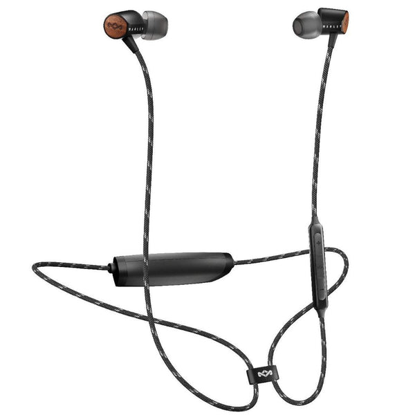 black earphone with wireless bluetooth