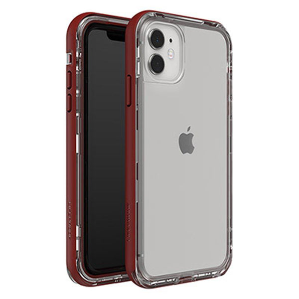 girly woman drop protection case from lifeproof for iphone 11. Red stylish clear design