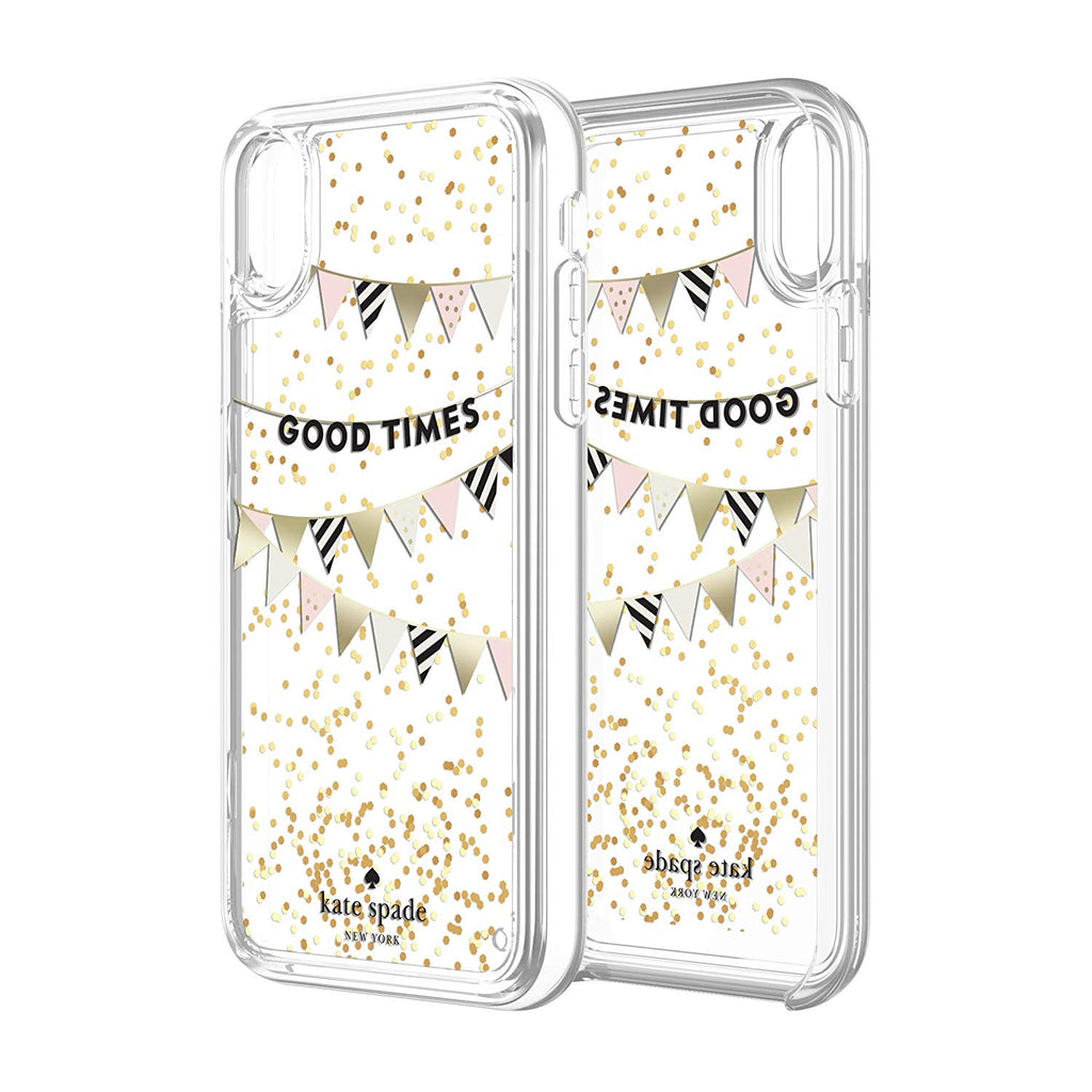 new style 54fb3 3ac9c KATE SPADE NEW YORK LIQUID GLITTER CASE FOR IPHONE XR- GOOD TIMES GOLD  FOIL/GLITTER/CLEAR