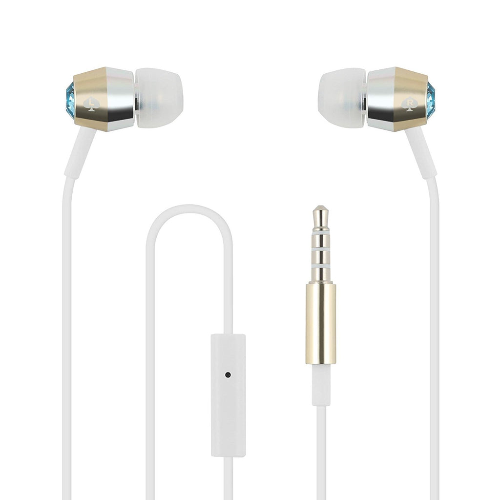 shop new Kate Spade New York Crystal Earbuds - Aquamarine/gold/silver/white and show your design with premium earphone from kate spade Australia Stock