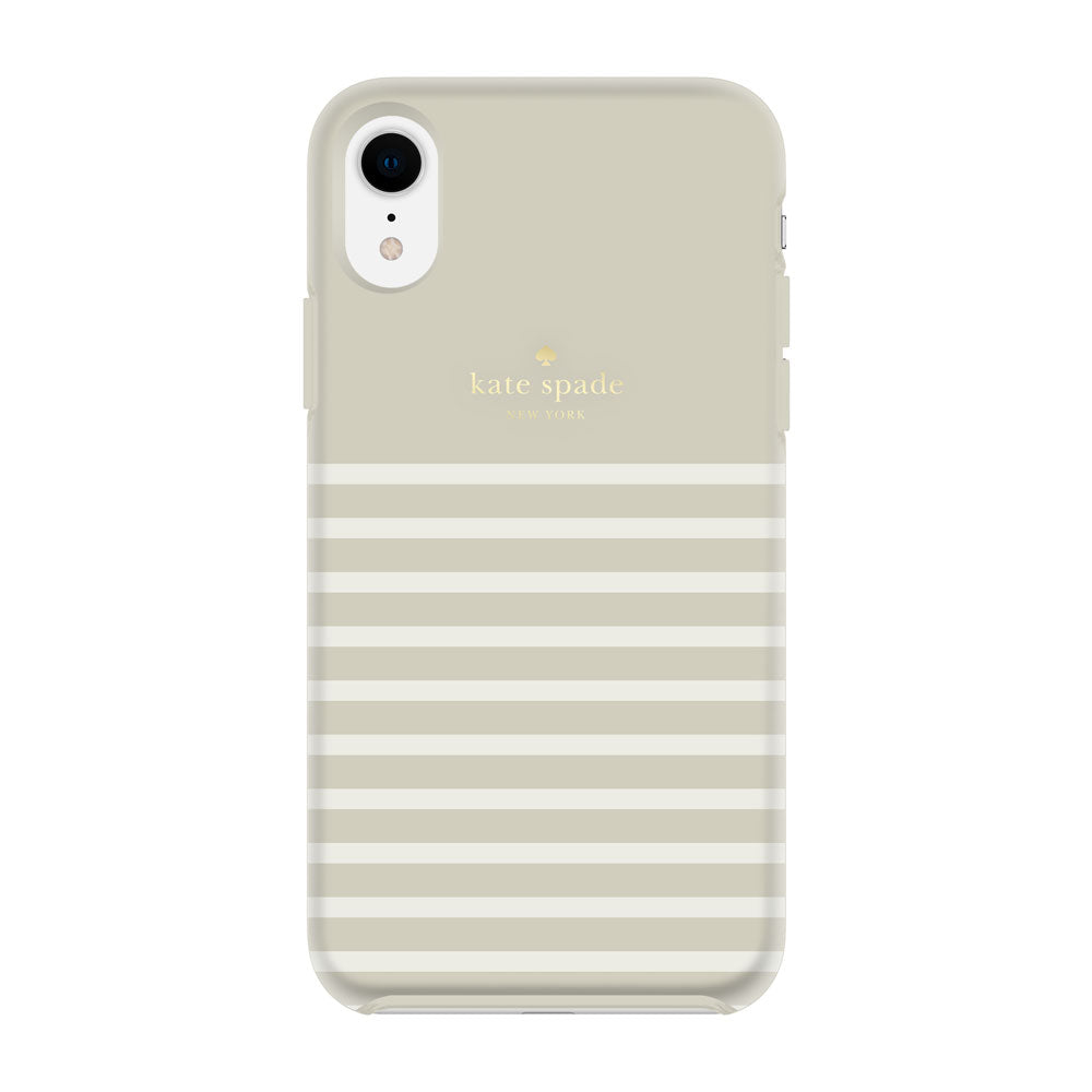 Shop Australia stock KATE SPADE NEW YORK PROTECTIVE HARDSHELL CASE FOR IPHONE XR - STRIPE CREAM/GOLD LOGO with free shipping online. Shop Kate Spade New York collections with afterpay Australia Stock