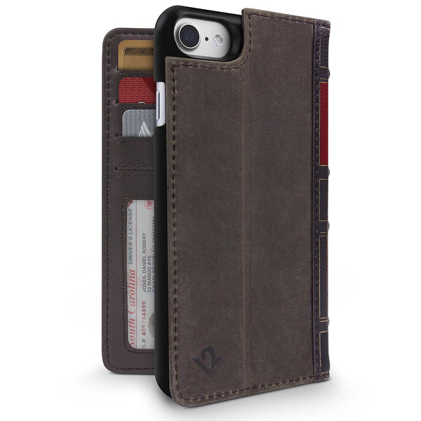 Twelve South BookBook 3-in-1 Leather Wallet Case for iPhone 8/7- Brown