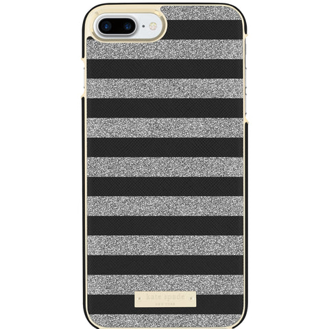 KATE SPADE NEW YORK WRAP GLITTER STRIPE CASE FOR iPHONE 8 PLUS/7PLUS- BLACK SAFFIANO/SILVER